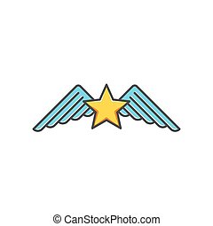 Star and wings logotype, isolated cartoon symbol