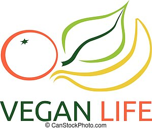 Vegetarian products symbol - Vegetarian products, orange,...