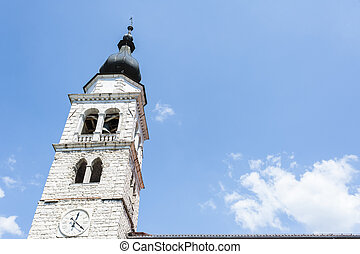 Bell tower of a church in northern Italy