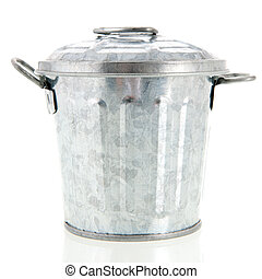 Trash can - Metal trash can isolated over white background