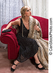 Flapper woman in charleston style