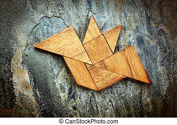 tangram bat - Halloween concept - abstract picture of a...