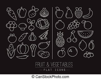 Flat Fruits Vegetables Icons Black