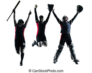 women playing softball players silhouette isolated