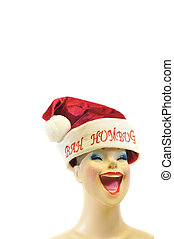 Female mannequin with a Santa Clause hat - Female mannequin...