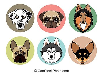 vector icons of different breeds of