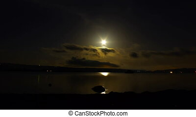 moonlight time lapse - Full moon over Vico Lake, Lazio,...