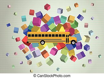 school bus - illustration of yellow school bus with abstract...