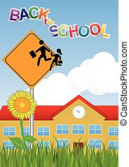 Warning school sign - illustration of Warning school sign...