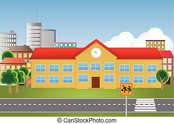 schoolhouse.eps - illustration of school building with...
