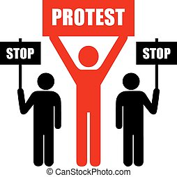 Demonstration of protest icon on white background