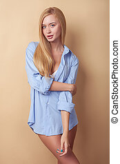 Pretty young blond girl is expressing her sexuality -...