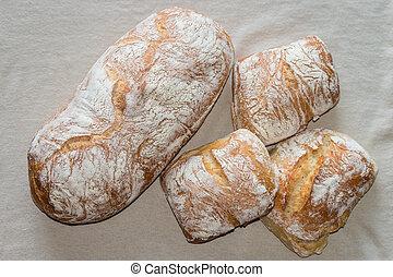 ciabatta bread and buns - close up of ciabatta bread and...