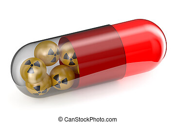 Anti-Radiation Drug concept isolated on white background