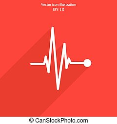 Vector pulse icon. Heart beat, cardiogram.