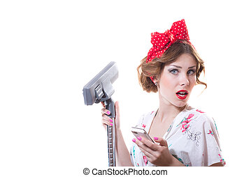 Surprized funny young pinup woman with hoover isolated...