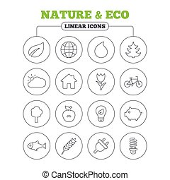 Nature and Eco icons Trees, rose flower - Nature and Eco...