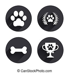 Pets icons. Dog paw sign. Winner laurel wreath.