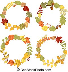 Autumn leaves wreaths with acorns and berries - Autumn...