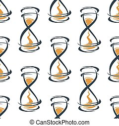 Seamless pattern with vintage hourglasses