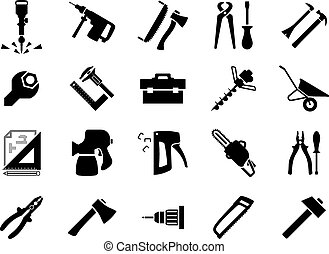 Hand and power tools icons - Hammers, screwdrivers, axes,...