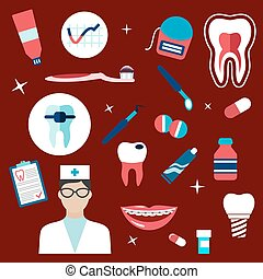 Dentistry, hygiene icons and symbols - Dentistry flat icons...