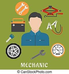 auto,  details, werktuigkundige,  man