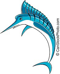 Jumping blue marlin fish character - Atlantic blue marlin...
