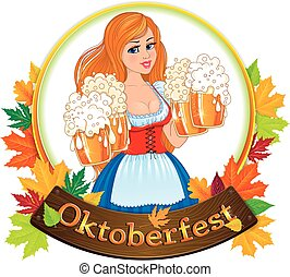 Oktoberfest girl with beer glass