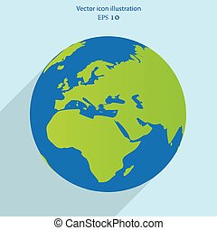 Vector globe flat web icon. Eps 10.