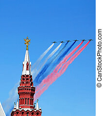 Aircraft over the Kremlin - Aircraft flying over tower of...
