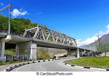 Railway bridge of electrified line with pillars