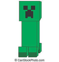 Minecraft Creeper Image - Image of green creeper type figure...