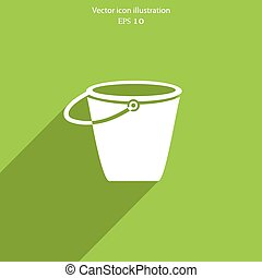 Vector bucket flat icon illustration. Eps 10.