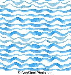 Blue cyan wave background - Watercolor seamless pattern...