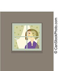 Woman in the Windoweps - A woman standing inside, behind a...