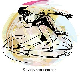 woman ice skater skating at colorful sports arena - abstract...