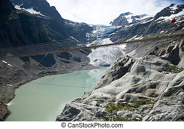 Trift suspension bridge - Suspension bridge at Trift glacier...