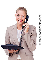 Blissful businesswoman on phone isolated on a white...