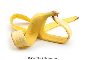 Banana skin isolated on white - Banana skin is isolated on...