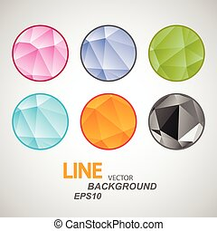 Set vector abstract circle icon. Triangle design.