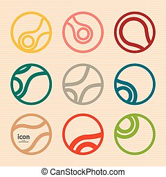 Set vector abstract circle icon. Molecule design.