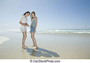 sisters looking at shell on beach
