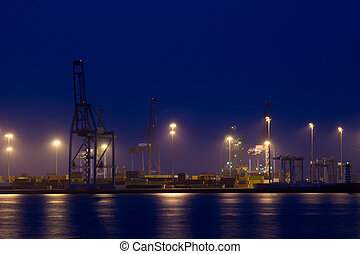 container port at night - container port pier visible over...