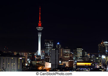 Aerial urban view of Auckland financial center skyline CBD...