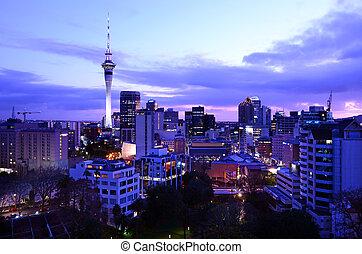 Auckland New Zealand Skyline at sunrise - AUCKLAND - AUG 20...