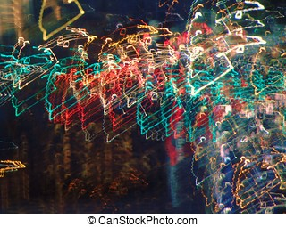 colorful wiry light produced by jiggling camera during night...