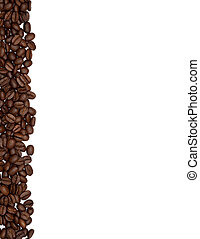 Strip of coffee beans on the edge of a white surface.