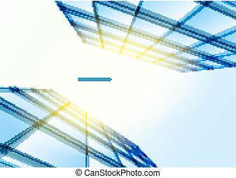 Modern blue glass wall of office building. Vector