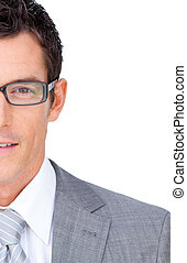 Attractive businessman wearing glasses against a white...